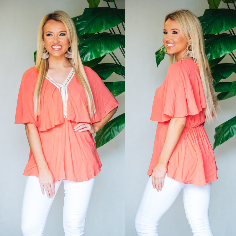 Keep It Coral Crochet Detail Top