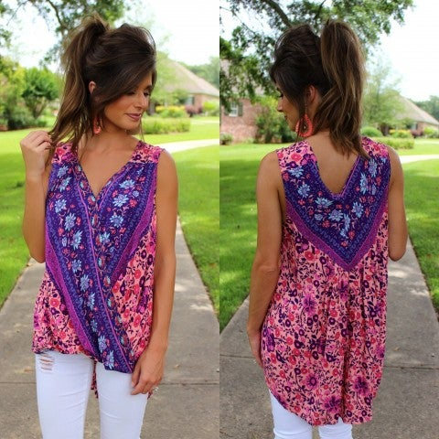Pink and Purple Print Sleeveless Top