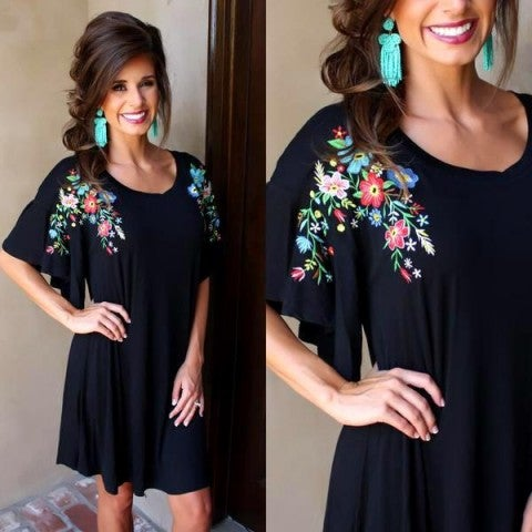 Black Embroidered Dress/FINAL SALE