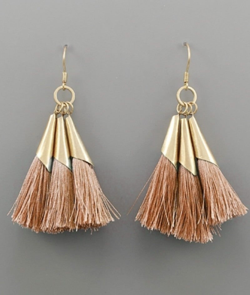 Dainty Blush & Gold Tassel Earrings