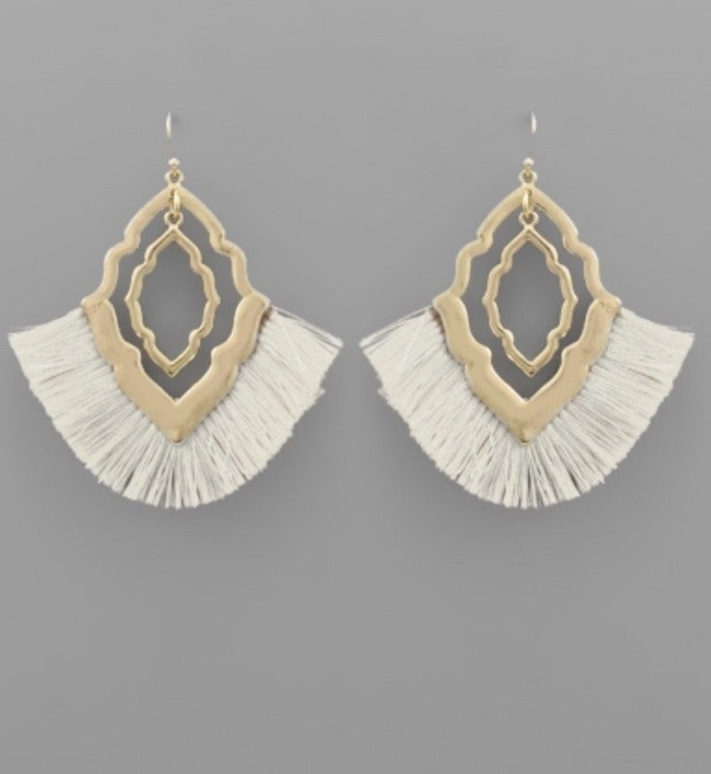 Ivory Tassel & Quatrefoil Earrings