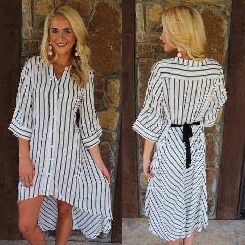 White and Black Striped High Low Dress