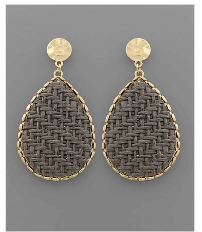 Rattan Disc Earrings-Gray