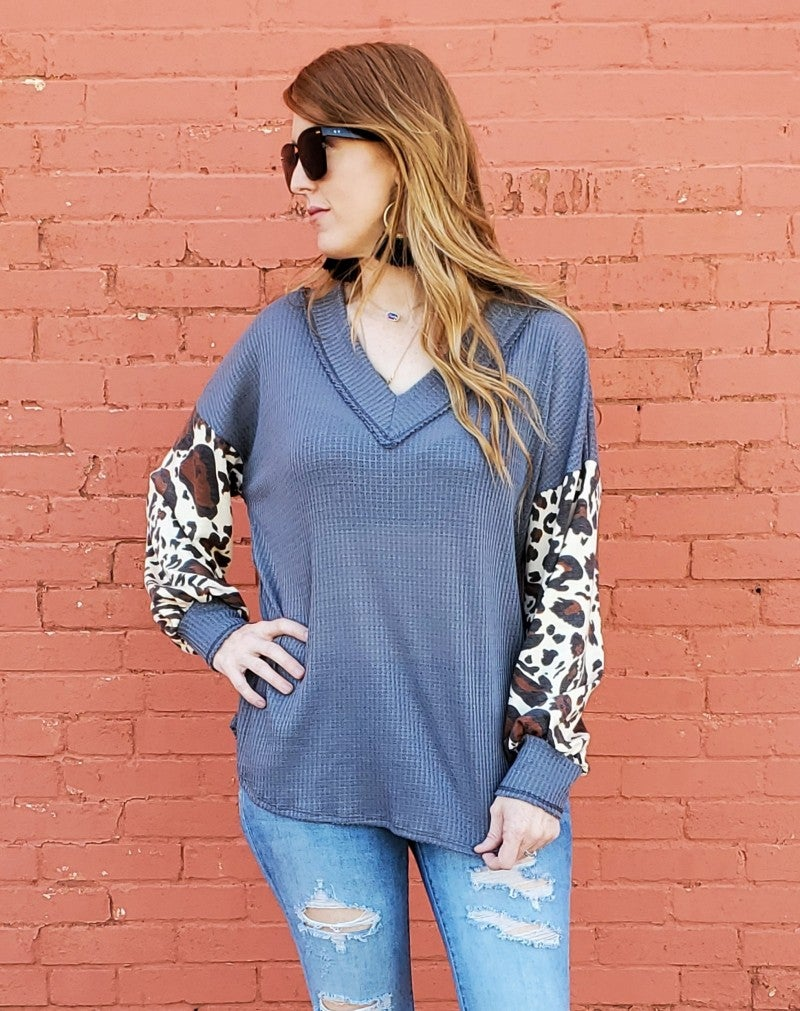 Charcoal Waffle V-Neck Top with Leopard Puff Sleeves