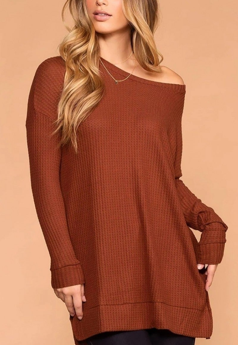 Curvy Rust Light Weight Waffle Knit Long Sleeve Top