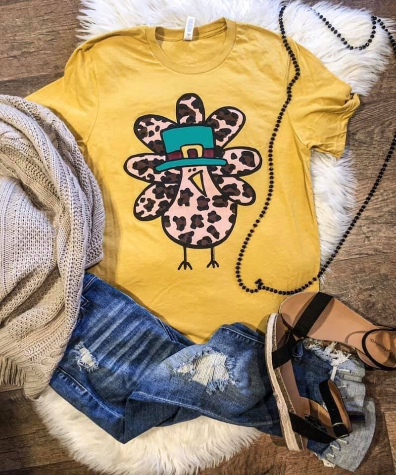 Cutest little leopard turkey tee-Adult (mustard crew or gray V-neck)