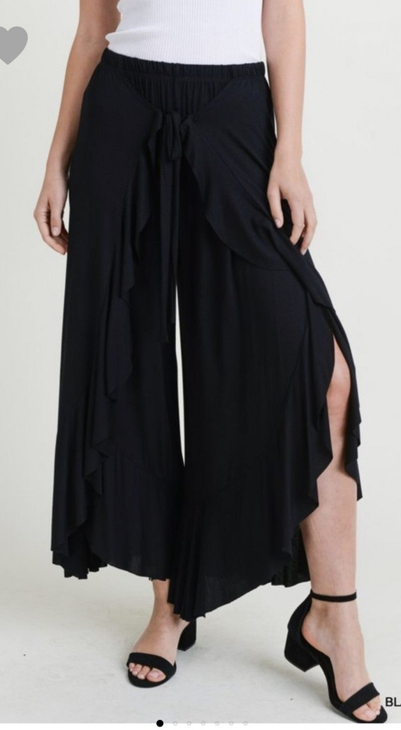 Tie Front Ruffle Pedal Pants