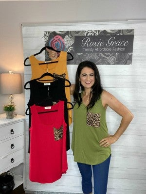 Zenana Leopard Pocket Perfect Tank