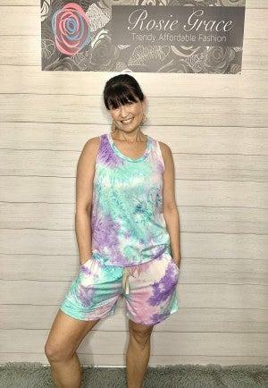 Sleeveless Lavender/Mint Tie Dye Shorts Set