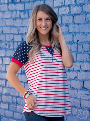 USA Striped Top w/ Star Accents