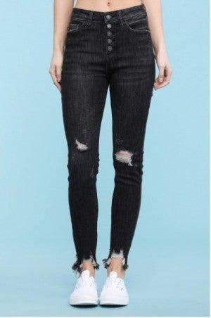 Judy Blue Distressed Black Skinny Jeans