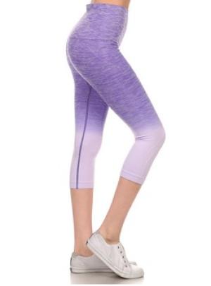 Yelete Purple Dip Dye Ombre Athletic Capri Leggings