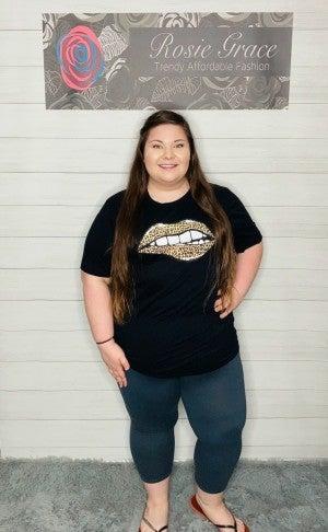 Black Leopard Lips T-Shirt