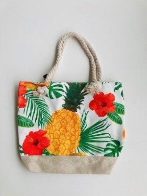 Pineapple Print Canvas Tote