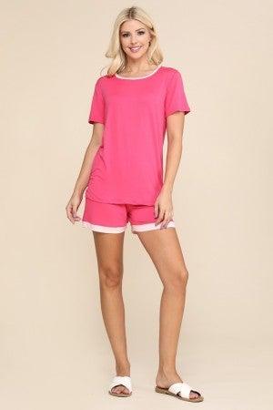 Fuchsia Light Pink Pajama Set