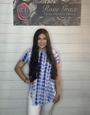 Royal Blue Striped Tie Dye Top