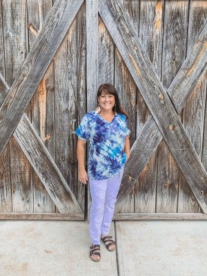 Blue Tie Dye Waffle V-Neck with Puff Sleeves