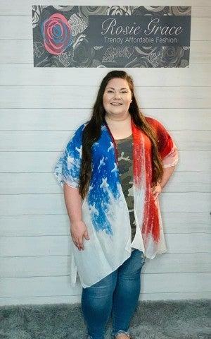 Watercolor American Flag Kimono
