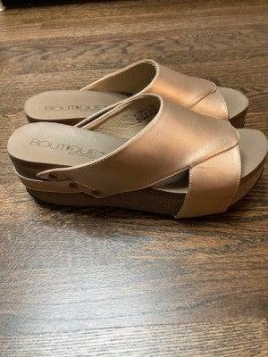 Corkys Rose Gold Wedge Sandal
