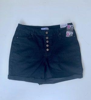 YMI Black Cuffed Button Fly Shorts