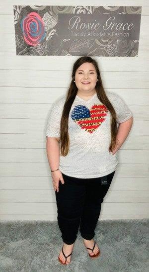 Leopard American Flag Heart Shirt