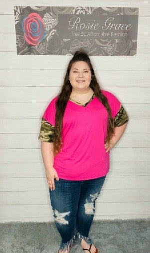 Pink Top with Camo Sleeves and Trim