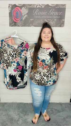Floral Animal Print with Ruffle Sleeves