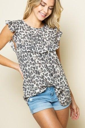 Cheetah Ruffled Babydoll Top