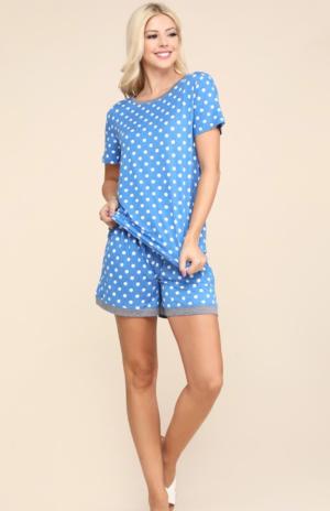 Denim Blue Polka Dot Pajama Set