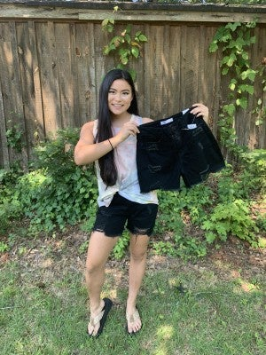 YMI Black Distressed Raw Hem Shorts