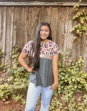 Charcoal and Blush Leopard Top with Sequin Stripe