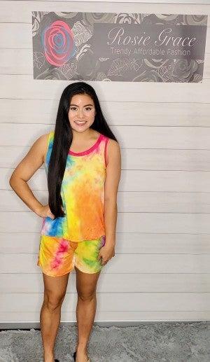 Rainbow Tie Dye Shortset