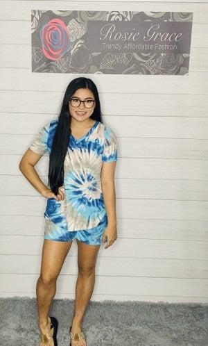 Blue Tie Dye Lounge Shorts