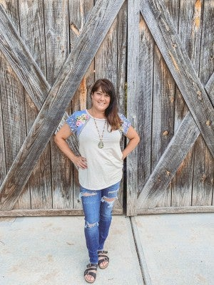 Oatmeal Terry Top with Floral & Snake Sleeves