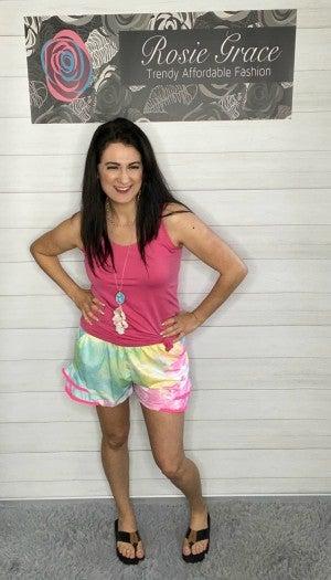 Tie-Dye Shorts with Pom Trim