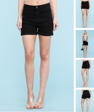 Judy Blue Black Cuffed Shorts