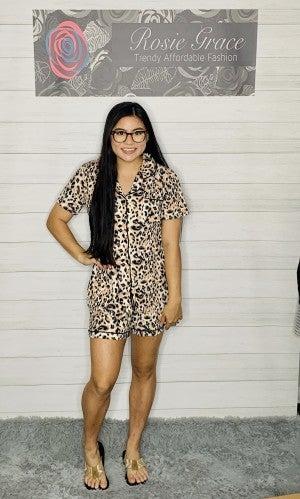 Khaki/Black Leopard Pajama Set