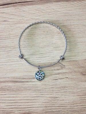 Multicolor Leopard Charm Bangle Bracelet