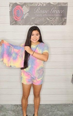 Indigo and Pink Tie Dye Lounge Shorts
