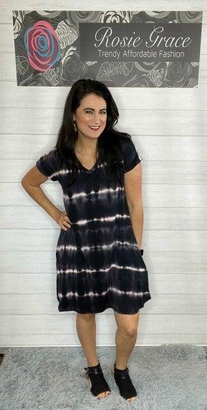 Black Tie Dye Dress with Pockets!