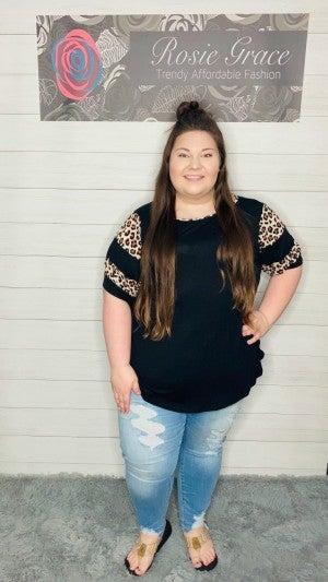 Black Animal Jersey Stripe Bubble Sleeve Tunic
