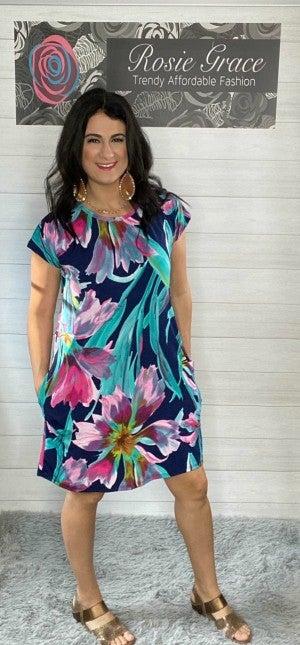 Watercolor Floral Design Midi Dress