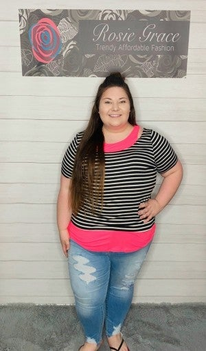 Black and White Stripe and Hot Pink Solid Tunic