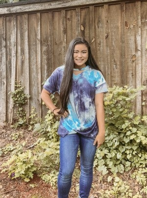 Knot Front Tie Dye Tee with Neck Cutout