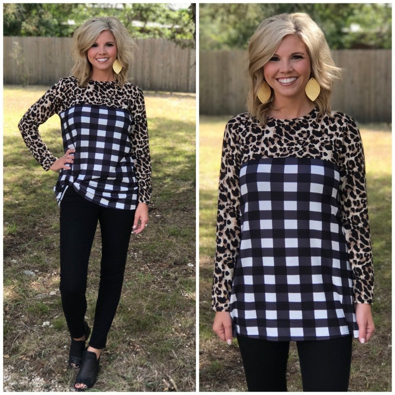 Cheetah Plaid Top