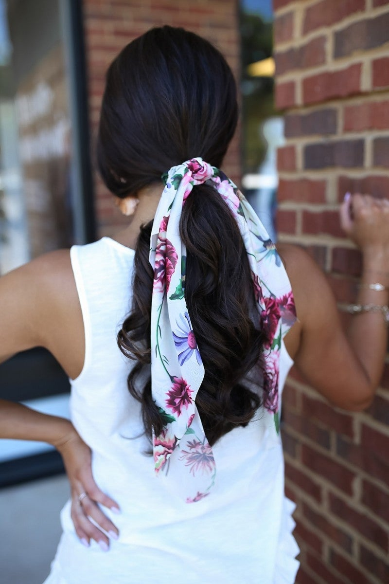 Floral Delight Scarf Scrunchie