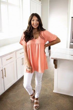 Start The Day Top- Deep Coral