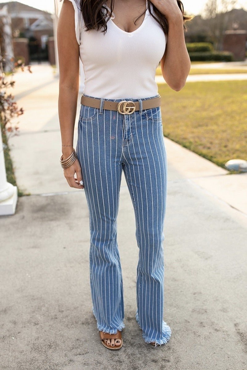 Pretty In Pinstripes Flares