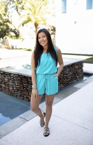 Seaside Vacay Romper- Ice Blue