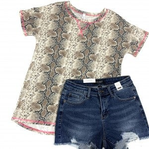Rattled your Heart Snakeskin Top